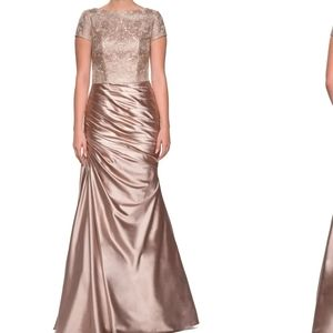 La Femme Embroidered Draped Trumpet Gown SZ 6 NWT